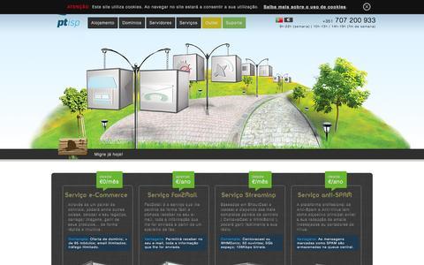 Screenshot of Services Page ptisp.pt - Alojamento Cloud, Domínios, hosting, servidores, e-Commerce, vps, mail >> PTisp - captured Sept. 23, 2014