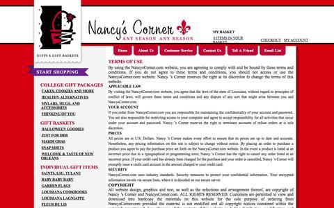 Screenshot of Terms Page nancyscorner.com - Nancy's Corner - Gift Baskets - captured Oct. 27, 2014