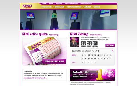 Screenshot of Home Page keno.de - KENO von LOTTO - captured Nov. 30, 2016