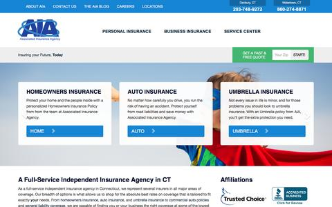 Screenshot of Home Page aia-danbury.com - Associated Insurance Agency CT - Danbury and Watertown - captured Feb. 6, 2016