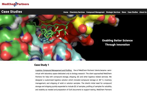 Screenshot of Case Studies Page medchempartners.com - Case Studies – MedChem Partners - captured Sept. 20, 2018