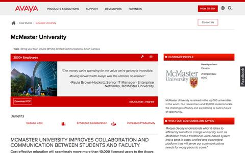 Screenshot of Case Studies Page avaya.com - Avaya Aura Platform Case Study – McMaster University – Avaya - captured Aug. 11, 2018
