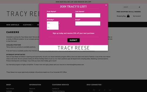 Screenshot of Jobs Page tracyreese.com - Tracy Reese | Careers - captured Oct. 8, 2017