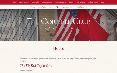 Screenshot of Hours Page cornellclubnyc.com - The Cornell Club - New York Hours - captured Nov. 15, 2018