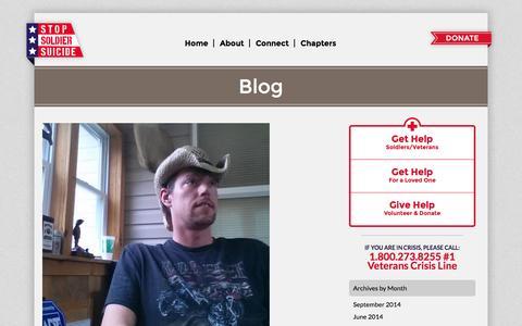 Screenshot of Blog stopsoldiersuicide.org - Blog | Stop Soldier SuicideStop Soldier Suicide - captured Oct. 7, 2014