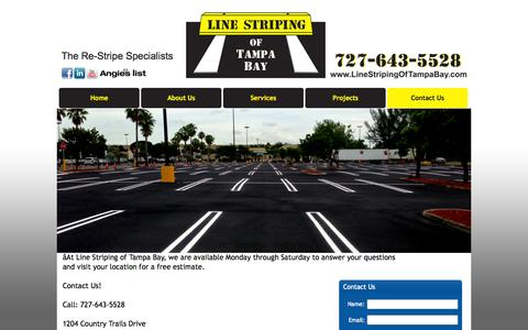 Screenshot of Contact Page Hours Page linestripingoftampabay.com - Contact a Commercial Line Striper | Tampa Bay, FL | 727-643-5528 - captured Oct. 23, 2014