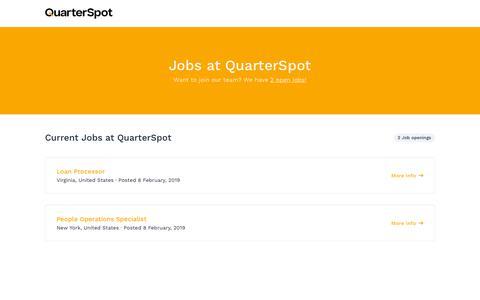Screenshot of Jobs Page quarterspot.com - Jobs at QuarterSpot - captured Feb. 20, 2019