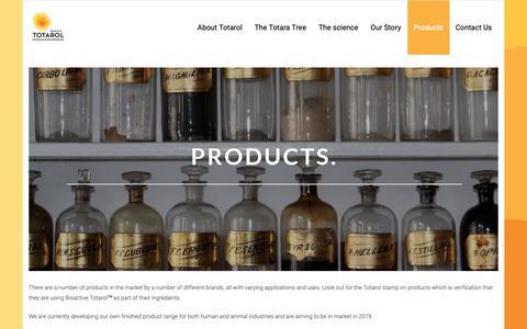 Screenshot of Products Page totarol.com - Products – BIOACTIVE TOTAROL - captured Nov. 15, 2018