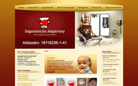 Screenshot of Home Page daganatos.eu - Daganatos.hu Alapítvány | Adó 1%, Szja 1, Adó 1 százalék - captured Oct. 12, 2015