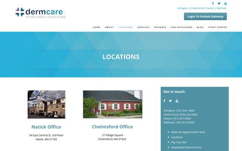 Screenshot of Contact Page Locations Page dermcare.us - DermCare Greater Boston Locations | Dermatologists & Plastic Surgeons | DermCare - captured July 6, 2018