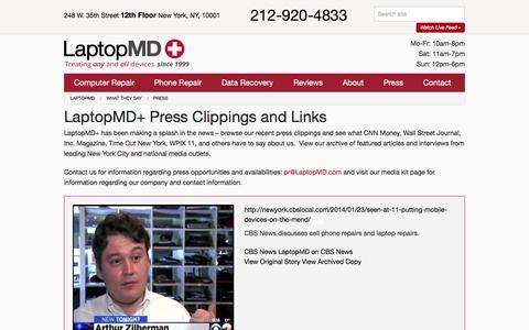 Screenshot of Press Page laptopmd.com - Press - LaptopMD - captured July 3, 2015