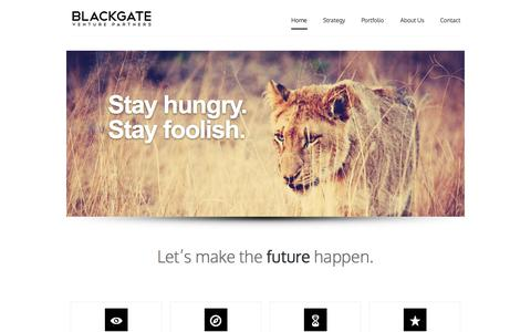 Screenshot of Home Page blackgateventures.com - Home - Blackgate Ventures - Blackgate Ventures - captured Sept. 30, 2014