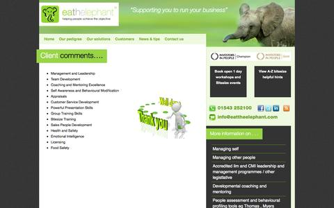 Screenshot of Testimonials Page eattheelephant.com - Client comments   on Eat the Elephant - Midlands training company, management training, people development provider - captured Oct. 22, 2014