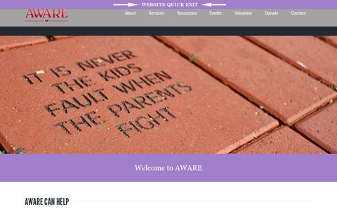 Screenshot of Home Page awareshelter.org - Aware, Inc.  Welcome to AWARE, Inc. in Jackson, Michigan - captured Sept. 11, 2015