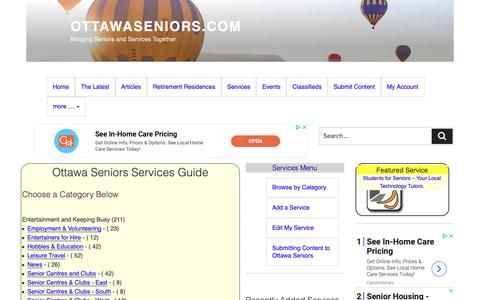 Screenshot of Services Page ottawaseniors.com - Ottawa Seniors Services Guide | OttawaSeniors.com - captured Oct. 11, 2018