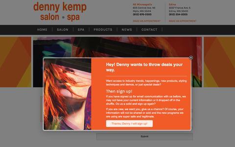 Screenshot of Signup Page dennykempsalon.com - Sign Up - Denny Kemp Salon Spa - captured Nov. 24, 2016