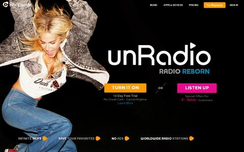 Screenshot of Home Page rhapsody.com - Rhapsody - Unlimited Music Anywhere - captured July 11, 2014