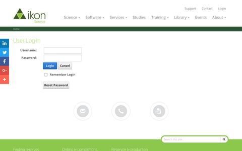 Screenshot of Login Page ikonscience.com - User Log In - captured Aug. 5, 2016