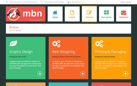 Screenshot of Services Page mbnstudioz.com - Services  |  mbn limited - captured Feb. 27, 2016