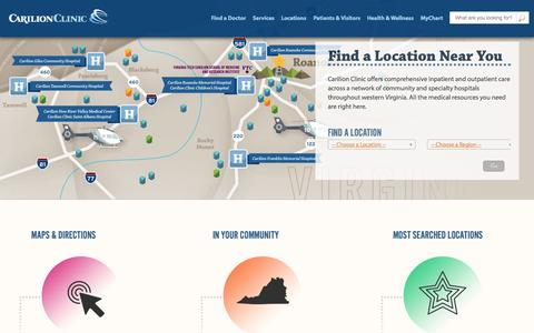 Screenshot of Locations Page carilionclinic.org - Locations | Carilion Clinic - captured Sept. 18, 2014