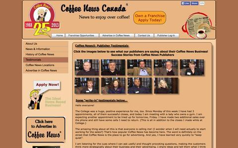 Screenshot of Testimonials Page coffeenewscanada.com - Testimonials - captured Sept. 30, 2014
