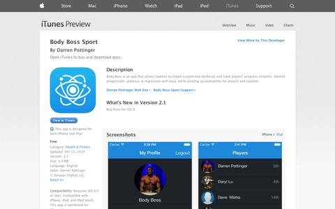 Screenshot of iOS App Page apple.com - Body Boss Sport on the App Store on iTunes - captured Oct. 23, 2014