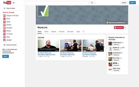 Screenshot of YouTube Page youtube.com - WorkLink  - YouTube - captured Oct. 25, 2014