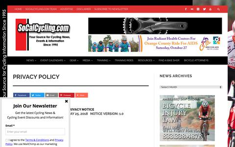 Screenshot of Privacy Page socalcycling.com - Privacy Policy - SoCalCycling.com - captured Sept. 22, 2018