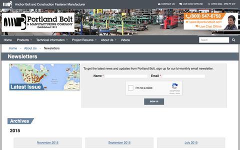 Screenshot of Signup Page portlandbolt.com - Newsletters Archive - Portland Bolt - captured Jan. 14, 2016