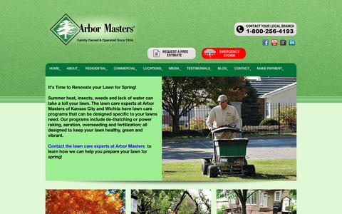 Screenshot of Home Page arbormasters.com - Home - Tree Service, Lawn Care and Landscape Company - captured Sept. 8, 2016