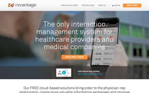 Screenshot of Home Page rxvantage.com - Rxvantage: Free Interaction Management System for Health Providers - captured July 13, 2018