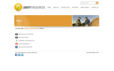 Screenshot of Privacy Page libertyresources.com.au - Liberty Resources  – Privacy - captured Oct. 2, 2014