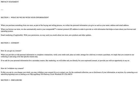 Screenshot of Privacy Page mylogoshop.com captured Oct. 26, 2014