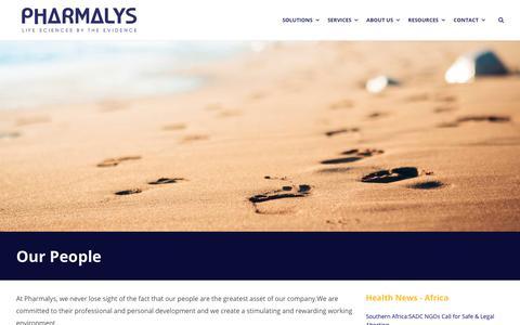 Screenshot of Team Page pharmalys.com - Our People - Pharmalys - captured Sept. 28, 2018