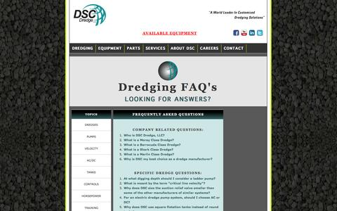 Screenshot of FAQ Page dscdredge.com - The World's Leader in Portable Dredges - captured Oct. 5, 2014