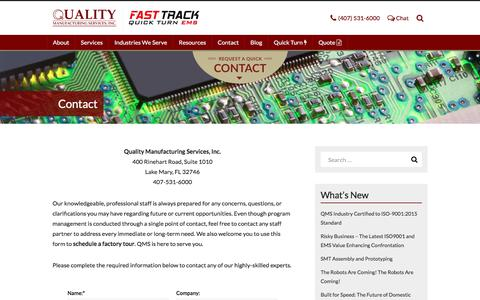 Screenshot of Contact Page qmscfl.com - Contact QMS | PCB Assembly & Prototyping Services and Contract Electronics Manufacturing Services Provider in Central Florida's Technology Hub - captured Aug. 15, 2017