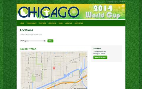 Screenshot of Locations Page leagueapps.com - Chicago World Cup : Locations - captured Sept. 22, 2014