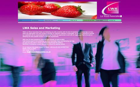 Screenshot of Home Page lizwoodassociates.co.uk - LWA Sales and Marketing - LWA Sales and Marketing Company for Hotels and venues throughout the uk Liz Wood Associates - captured Oct. 2, 2014