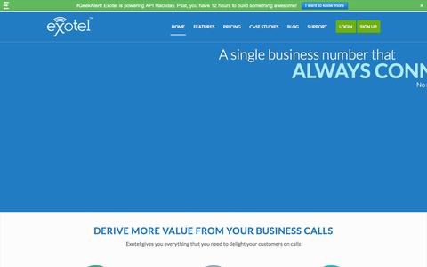 Screenshot of Home Page exotel.in - Cloud Telephony for Businesses - Virtual PBX, Hosted IVR, India - captured Dec. 8, 2015
