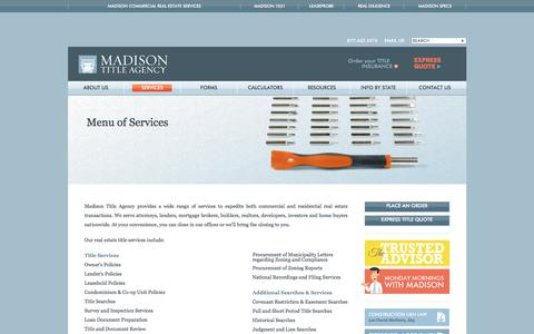 Screenshot of Services Page madisontitle.com captured Oct. 5, 2017