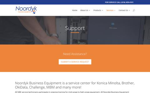 Screenshot of Support Page noordyk.com - Support - Noordyk Business Equipment - captured Oct. 22, 2017