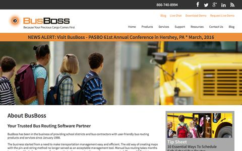 Screenshot of About Page busboss.com - About BusBoss: Your Trusted Bus Routing Software Partner - captured Feb. 14, 2016
