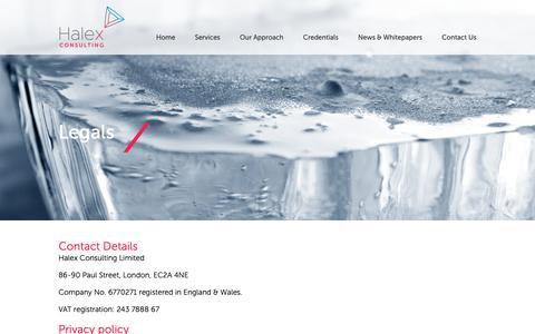 Screenshot of Privacy Page Terms Page halex.uk.com - Legal - Halex - captured Nov. 9, 2018