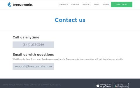 Screenshot of Contact Page breezeworks.com - Contact us | Breezeworks - captured Aug. 2, 2017