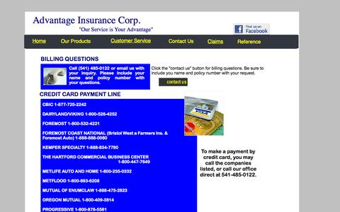 Screenshot of Support Page advantageinsurancecorp.com - Billing - captured Sept. 30, 2014