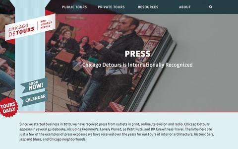 Screenshot of Press Page chicagodetours.com - Tour Company Press for Chicago Detours - Chicago Detours - captured July 17, 2018