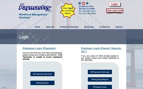 Screenshot of Login Page cscpaymaster.com - CSC Paymaster, Inc. - Payroll, Time & Attendance, Human Resources | Login - captured Sept. 25, 2018
