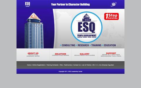 Screenshot of Home Page esqway165.com - Ary Ginanjar, ESQ WAY 165, Training Motivasi, Training Kepemimpinan - captured Jan. 24, 2016
