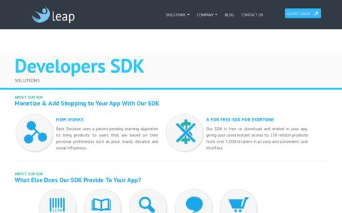 Screenshot of Developers Page leapcommerce.com - Leap Commerce - captured July 19, 2014