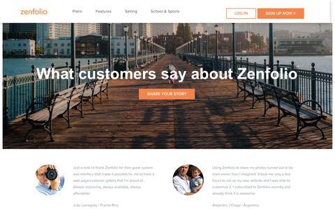 Screenshot of Testimonials Page zenfolio.com - Zenfolio - Reviews - captured Feb. 6, 2017